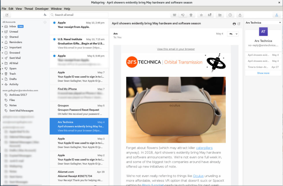 Since Sean is basically the only person on staff not to use Airmail, we thought we'd include a screengrab of his MailSpring client.