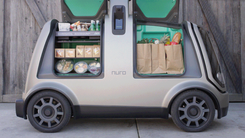 Nuro makes small electric vehicles for hauling cargo. They are designed to be street-legal but have no room for passengers.