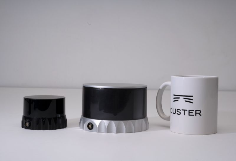 Promotional image from Ouster positions device next to branded mug.