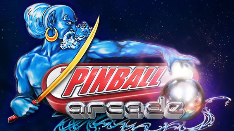 Logo for The Pinball Arcade features a sword-wielding genie.