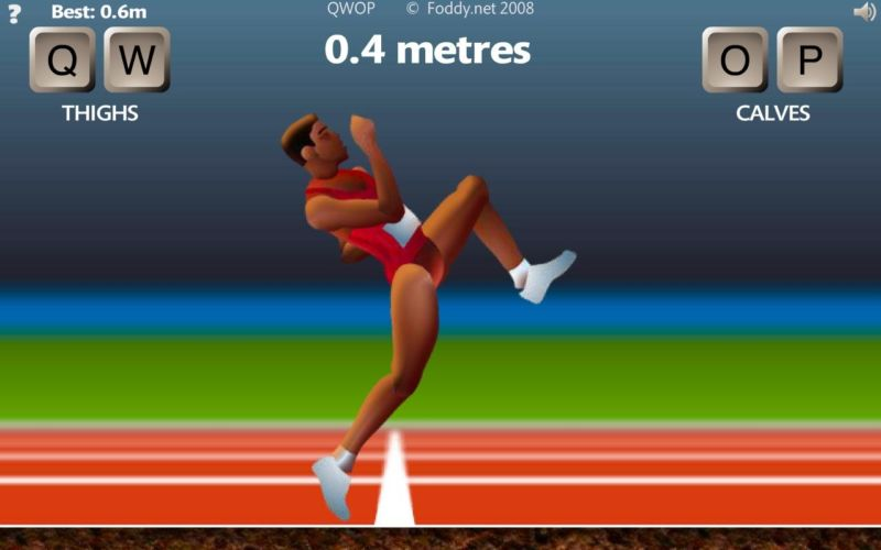 Screenshot of a runner from QWOP.