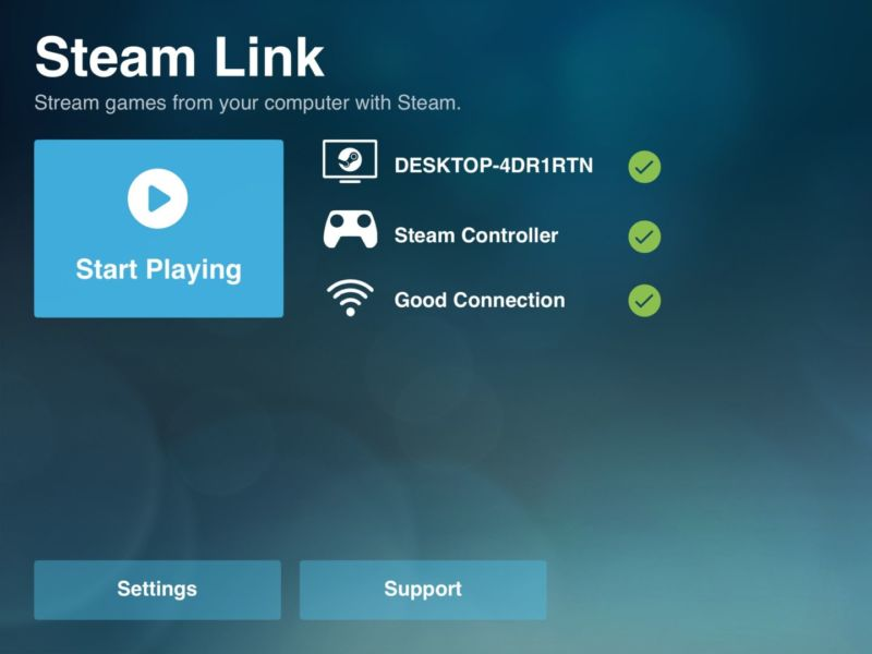 A screenshot from the beta version of the Steam Link app, which has been denied approval by Apple.