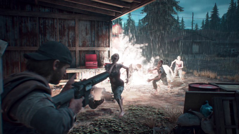 Video game protagonist guns down zombies from cover.