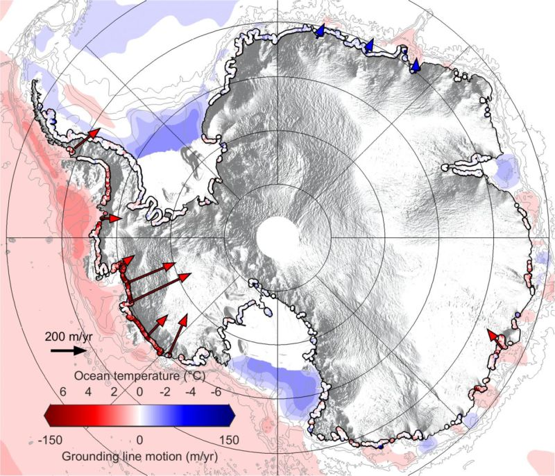 "Map of Antarctica today showing rates of retreat (2010-2016) of the ""grounding line"" where glaciers lose contact with bedrock underwater, along with ocean temperatures."