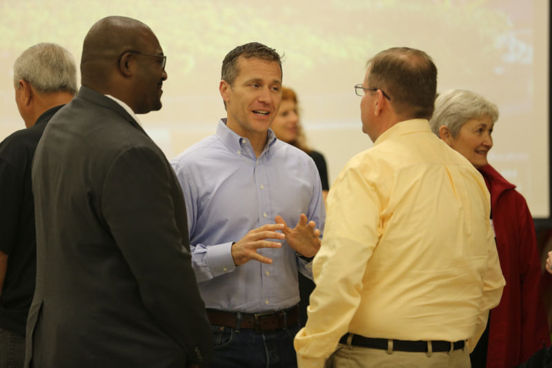 Gov. Eric Greitens (center), seen here in August 2017.