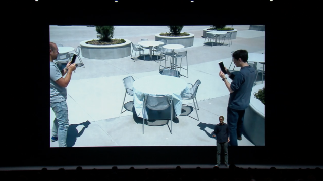 Two users experiencing the same AR environment, from Apple's developer videos.