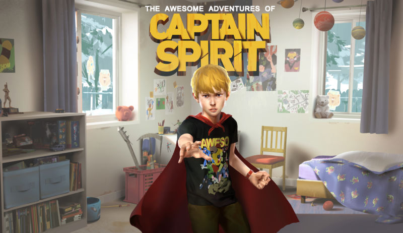 Title page for Captain Spirit video game.