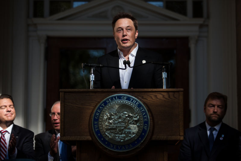 Elon Musk, CEO of Tesla Motors, speaks at a press conference at the Nevada State Capitol, September 4, 2014 in Carson City, Nevada.