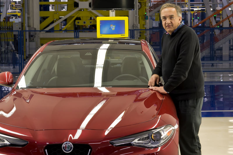Sergio Marchionne, chief executive officer of Fiat Chrysler Automobiles NV with the new Alfa Giulia, during the visit to the factory Alfa Romeo in Piedimonte San Germano on November 24, 2016 in Cassino, Italy.
