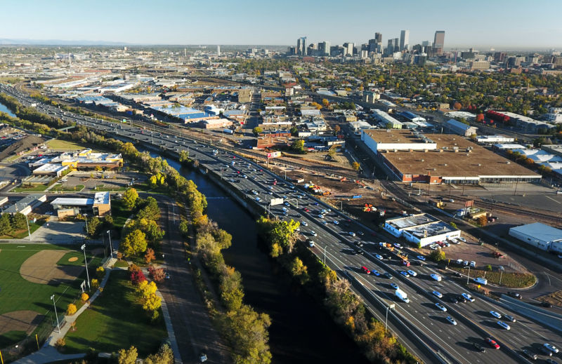 Image of a congested urban freeway.