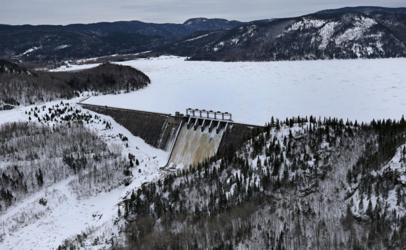 Hydro-Québec's Bersimis-2 dam in Baie Comeau, Québec is pictured on January 20, 2018.