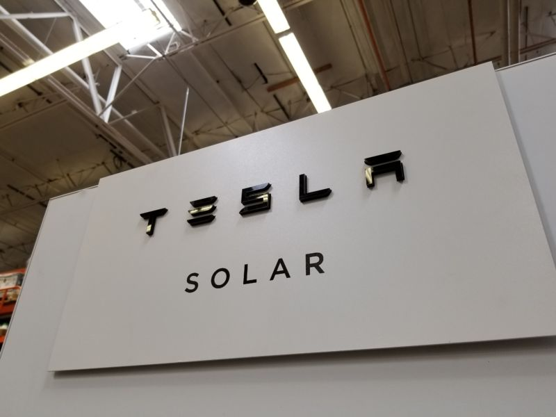 Close-up of logo for Tesla Solar, a home solar power generation solution offered by Tesla Motors, San Ramon, California, March 28, 2018. (Photo by Smith Collection/Gado/Getty Images)