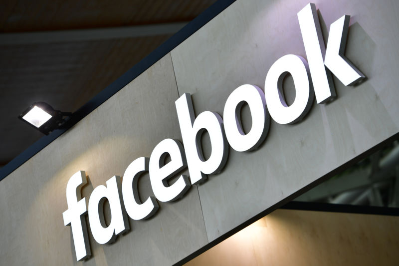 The Facebook logo is displayed at the 2018 CeBIT technology trade fair on June 12, 2018 in Hanover, Germany.