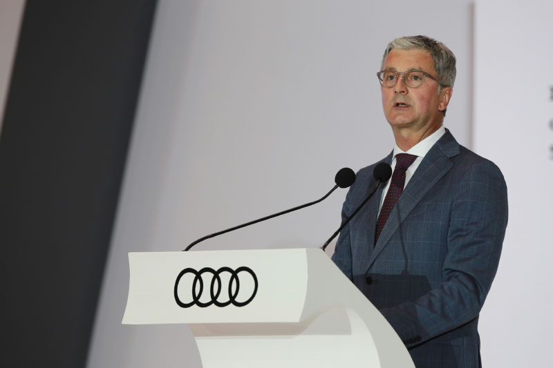 Rupert Stadler, chief executive officer of Audi AG, speaks during an opening ceremony for the company's new production plant in Puebla, Mexico, on Friday, Sept. 30, 2016. German authorities have taken Stadler, chief executive officer of Volkswagen AGs Audi unit, into custody, making his the highest-profile arrest in the group's diesel-cheating probes.