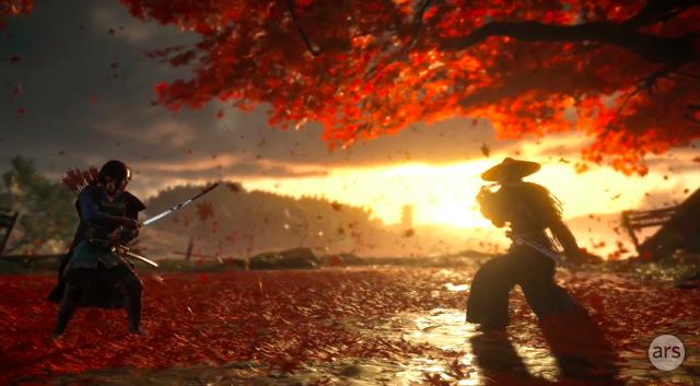 The samurai action game<em>Ghost of Tsushima</em>.