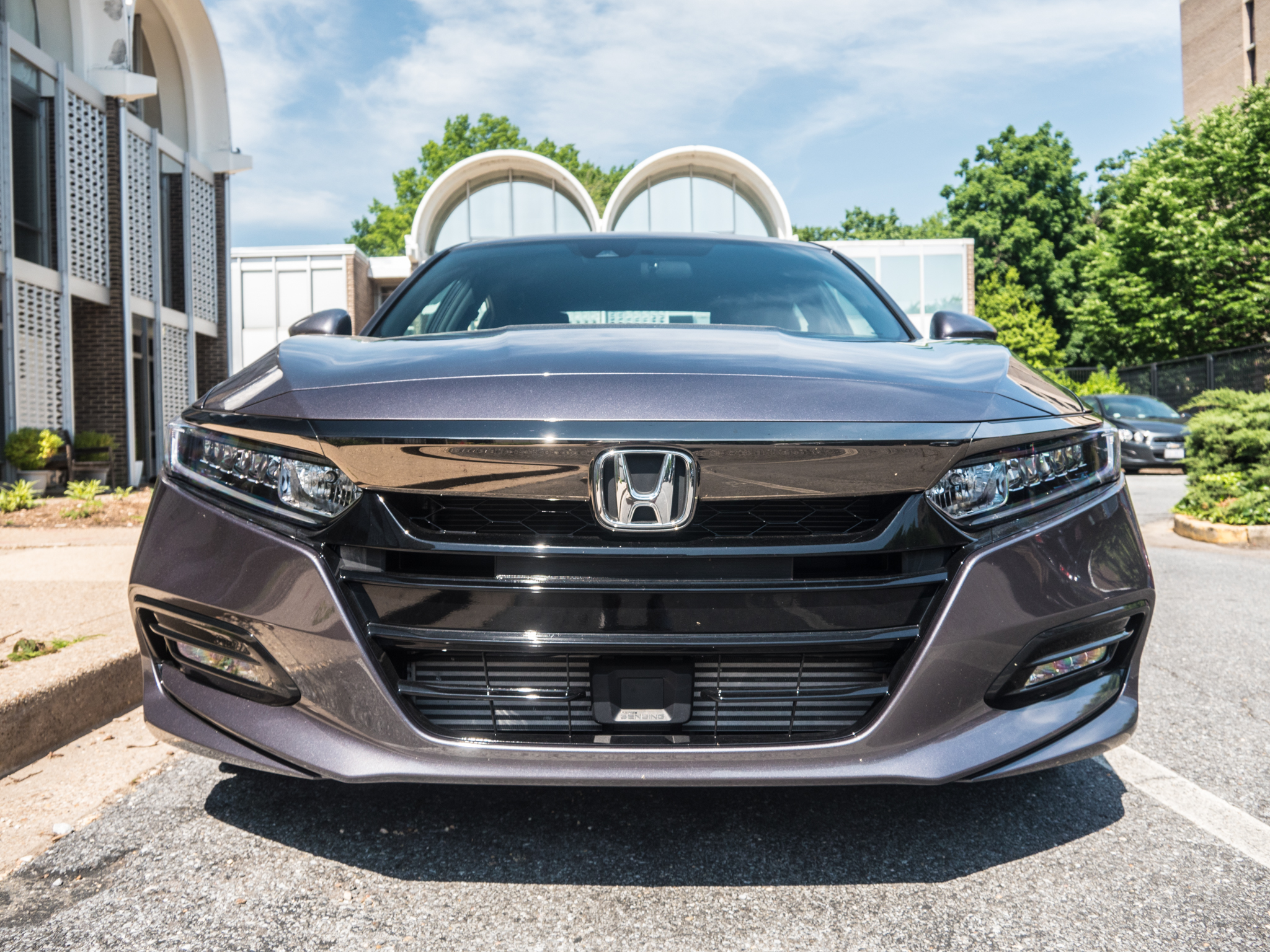 The front of the new Accord looks like someone forgot to fit a piece of trim at the factory. But that void lets you see the radar sensor that enables part of the Honda Sensing ADAS suite.