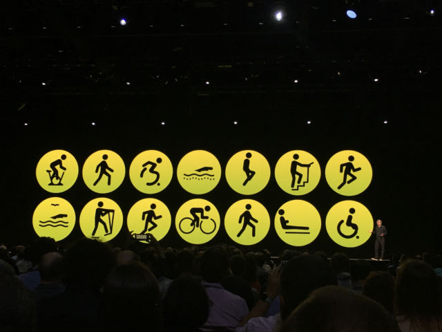 Workout profiles on display on the WWDC stage.