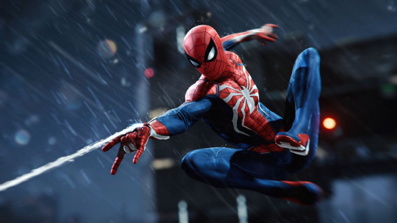 Screenshot from Spider-Man video game shows Spider-Man.
