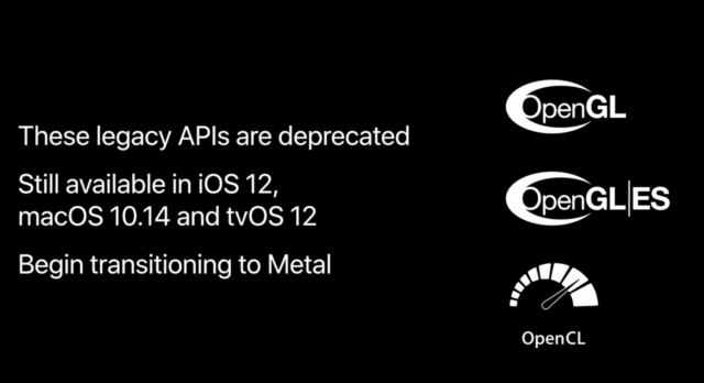A slide used by Apple at WWDC to announce the end of OpenGL support.