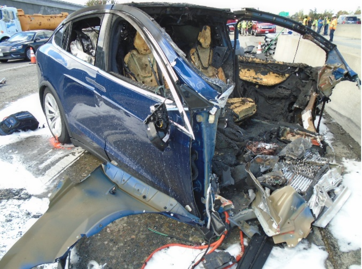 The charred remains of Walter Huang's Tesla Model X.