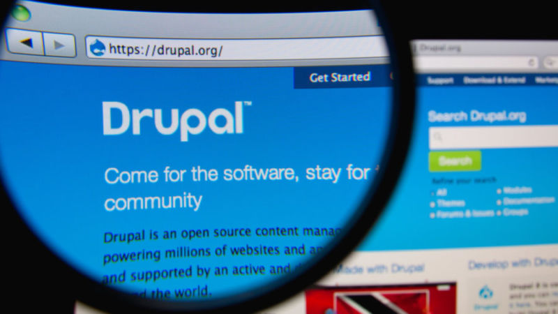 Screenshot of Drupal.org as seen through magnifying glass.