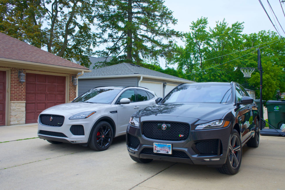 The E-Pace at left next to the F-Pace.