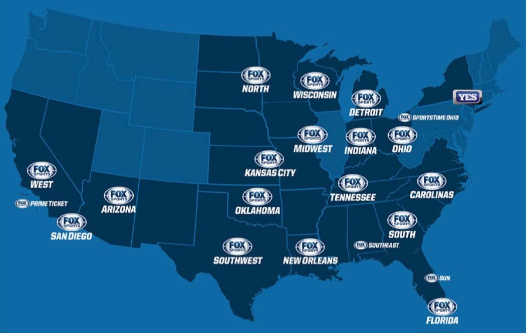 The DOJ's court filings included this map of Fox's regional sports networks.