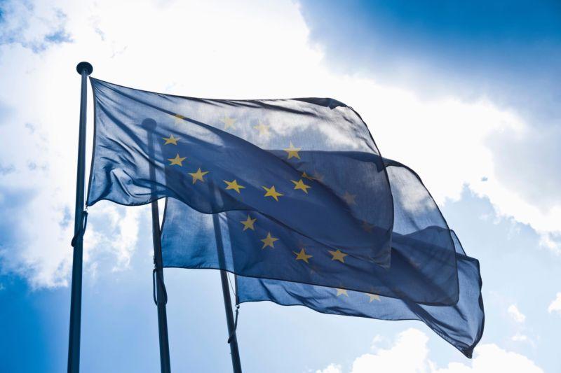 European Union flags.