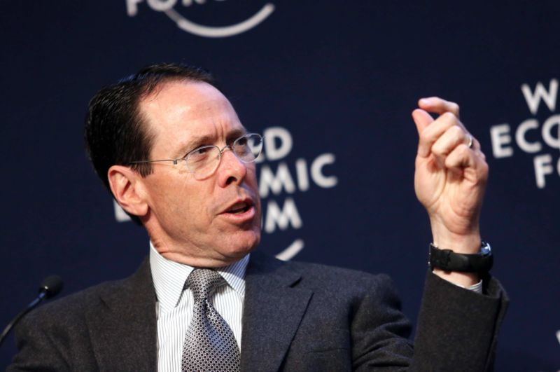 AT&T CEO Randall Stephenson speaking and gesturing in an appearance at the World Economic Forum.