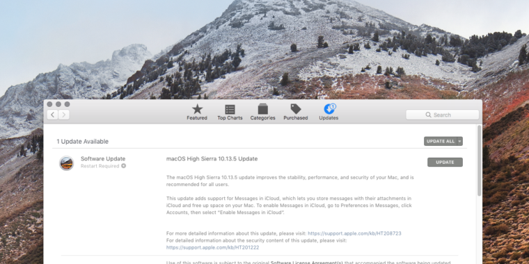 macOS High Sierra 10 13 5 brings Messages in iCloud and security
