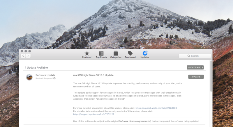 macOS High Sierra 10.13.5 in the Mac App Store.