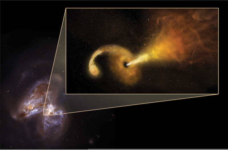 Image of a black hole destroying a star.