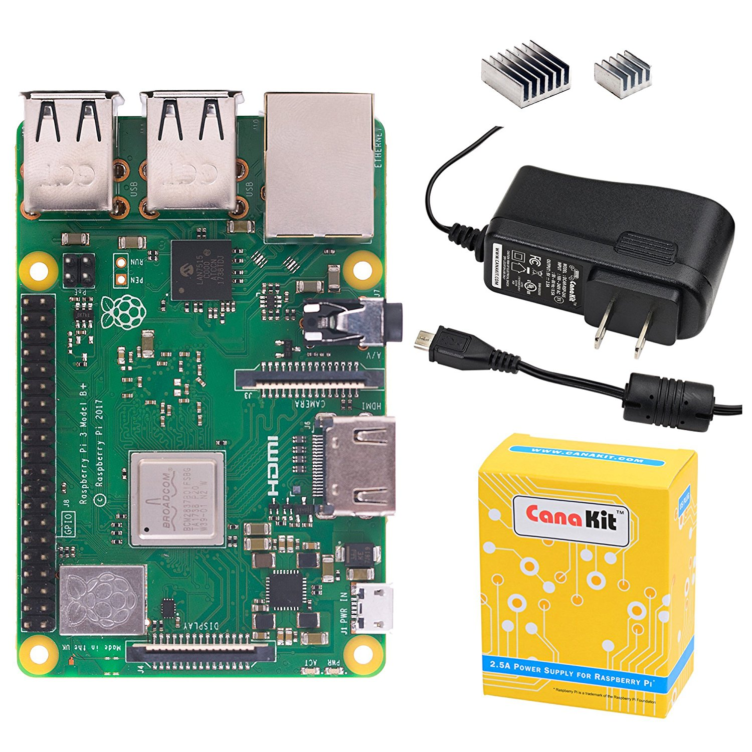 Raspberry Pi 3 Model B+ with 2.5A Power Supply product image