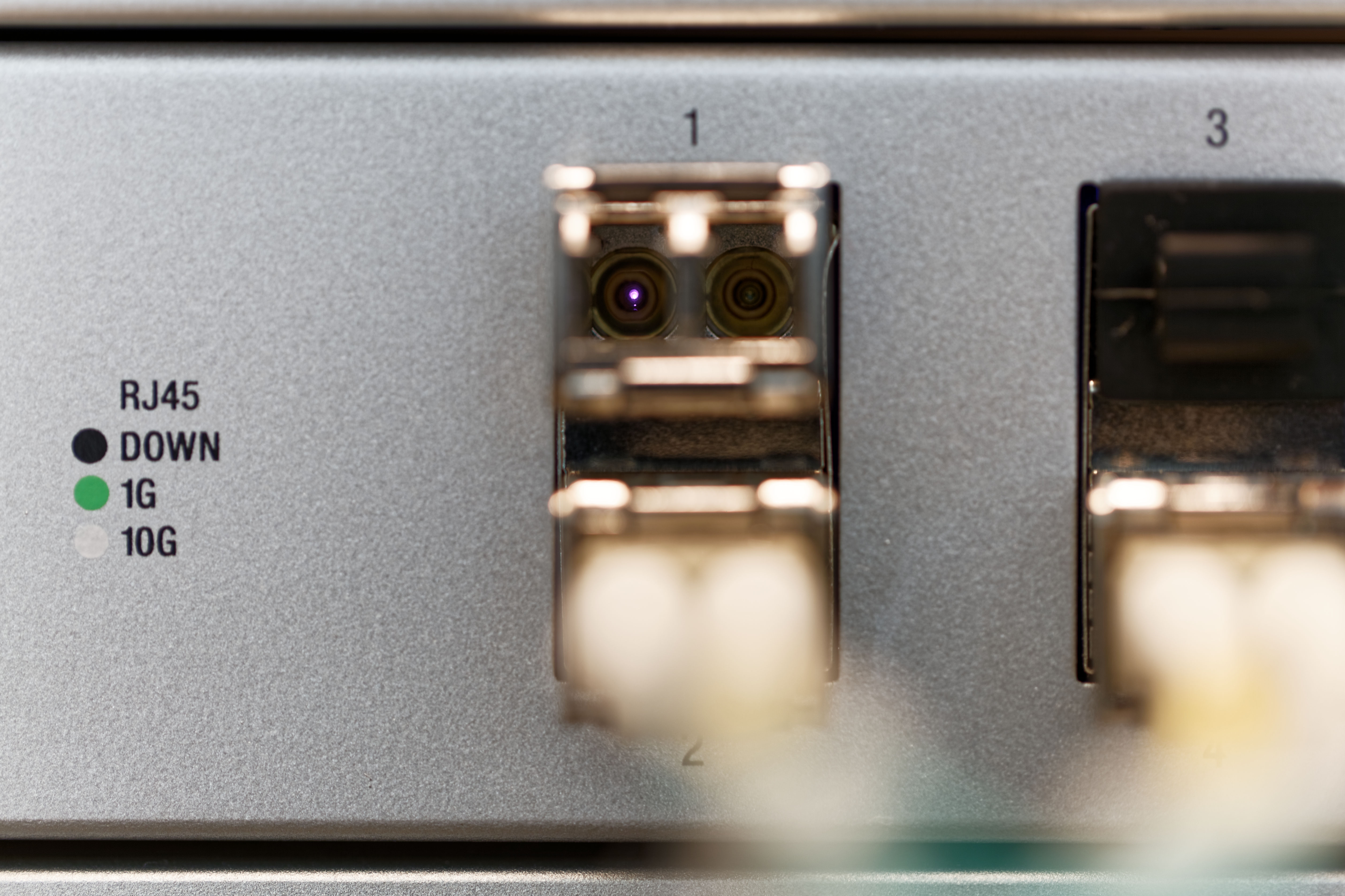 This close up of an SFP+ transceiver module looks like a robot. MEEP MORP.