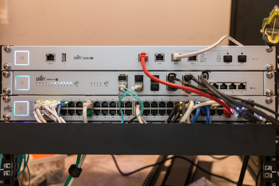My three Unifi switches, prior to being stuffed into the noise-reducing enclosure. This piece is going to be about more than just Wi-Fi!