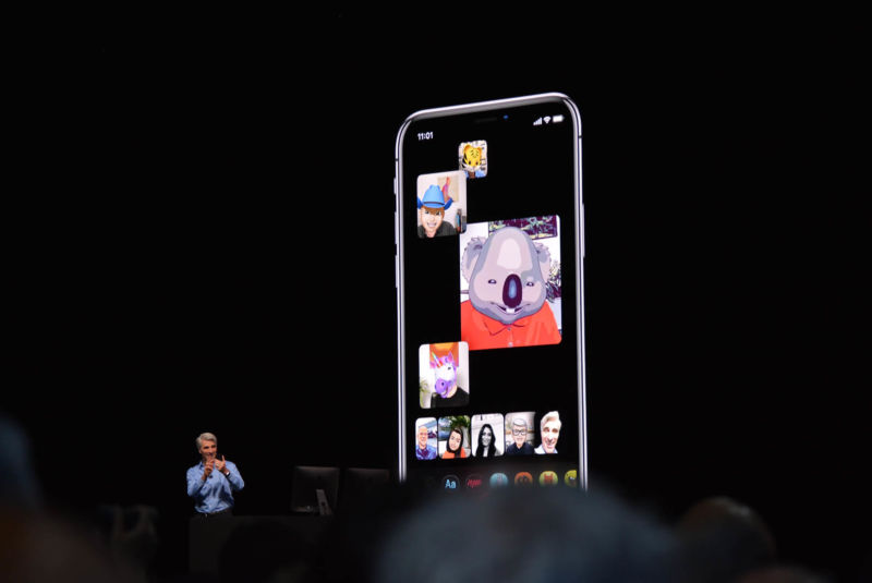 Apple demonstrates Group Facetime at WWDC 2018.