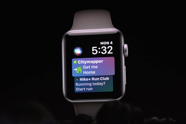 Third-party app information now appears in the Siri watch face.