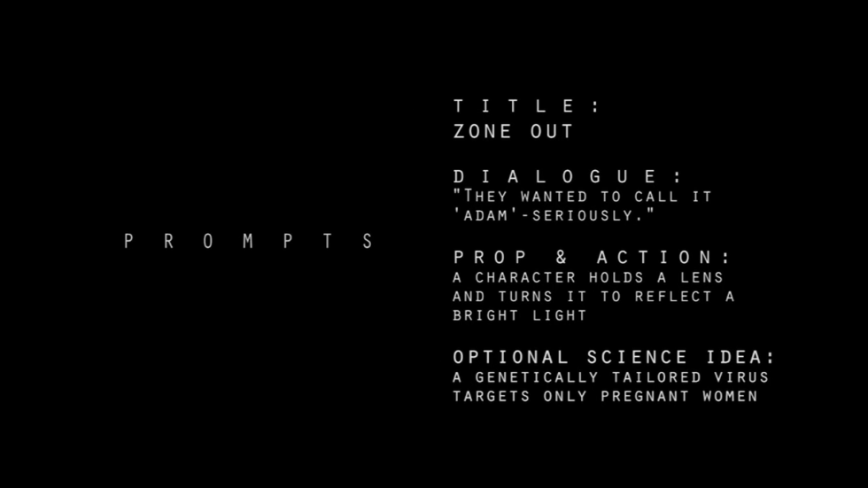 The requirements for Zone Out, as given to the filmmakers by Sci-Fi-London once the 48-hour clock started ticking.