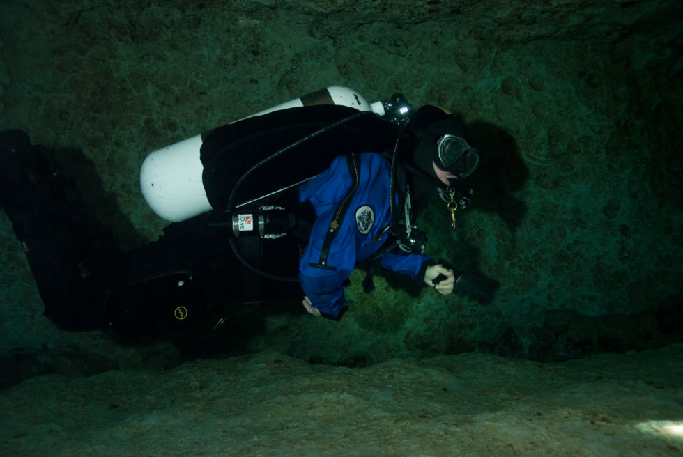 The author during a much later (post-certification!) cave dive, with properly rigged cave diving gear.