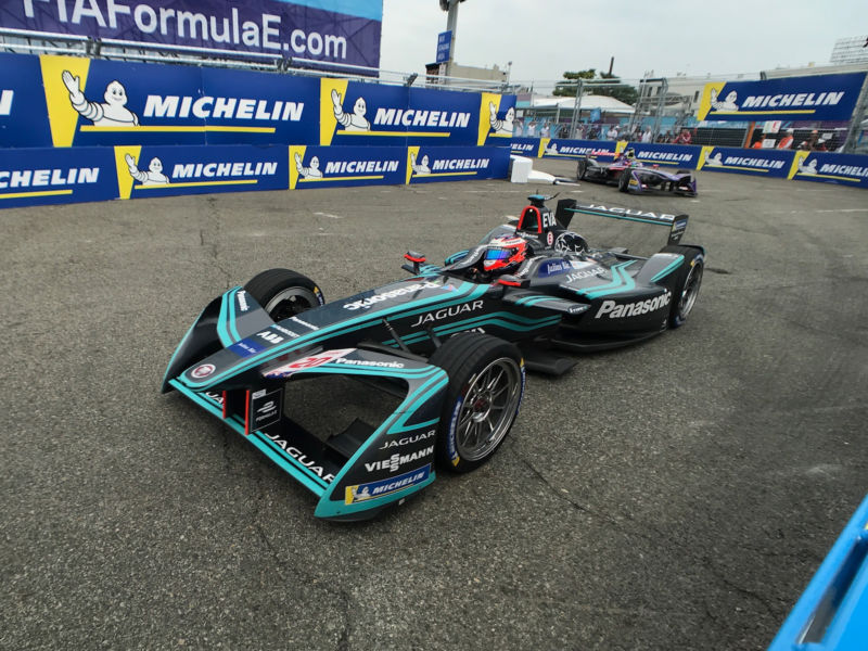 A Jaguar Formula E racing car at the 2018 NYC ePrix