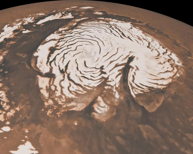 Image of Mars' north pole, showing its polar ice cap.