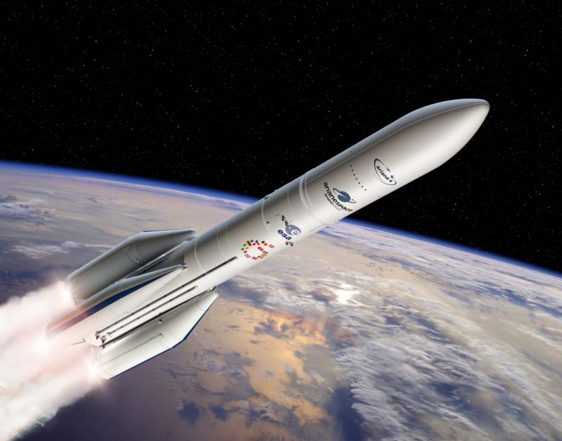 Artist's view of the configuration of Ariane 6 using four boosters.