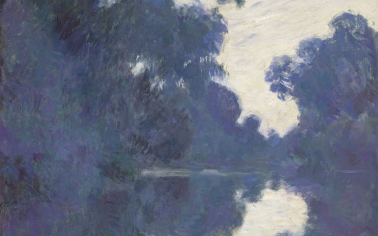 Image of a Monet pairing of trees reflected in a lake.