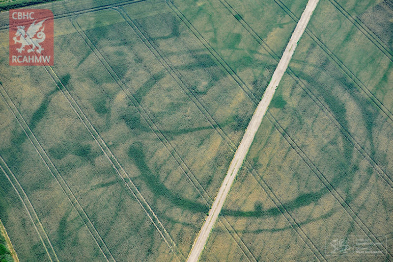 Crop marks trace the circular boundaries of a prehistoric settlement, with the faint outlines of a Roman villa inside.