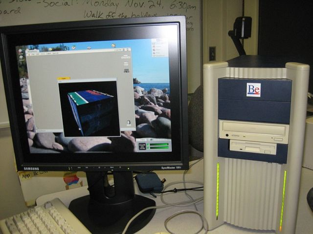 The BeBox was a dual-processor PC made to run BeOS (this one is running with an aftermarket monitor).