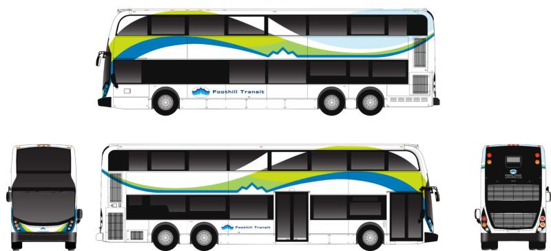 This electric double-decker bus from Alexander Dennis and Proterra will be put into service with Foothills Transit by 2019.