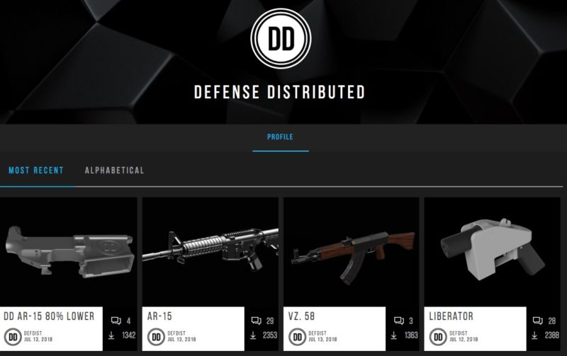Enlarge  The Defense Distributed website this