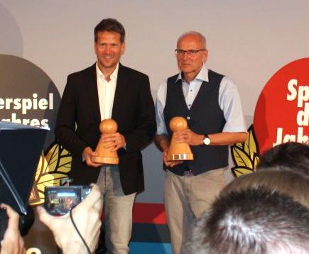 Warsch and Kiesling accepting their awards in Berlin.