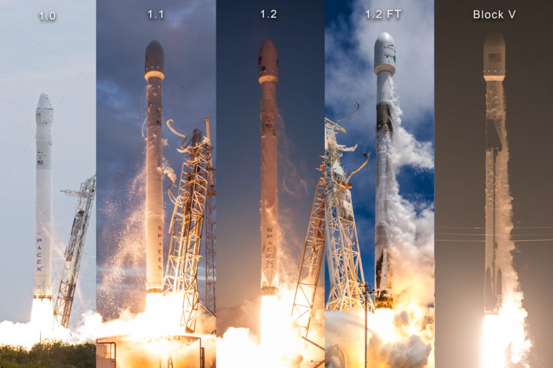 All five major versions of the Falcon 9 rocket, side by side.