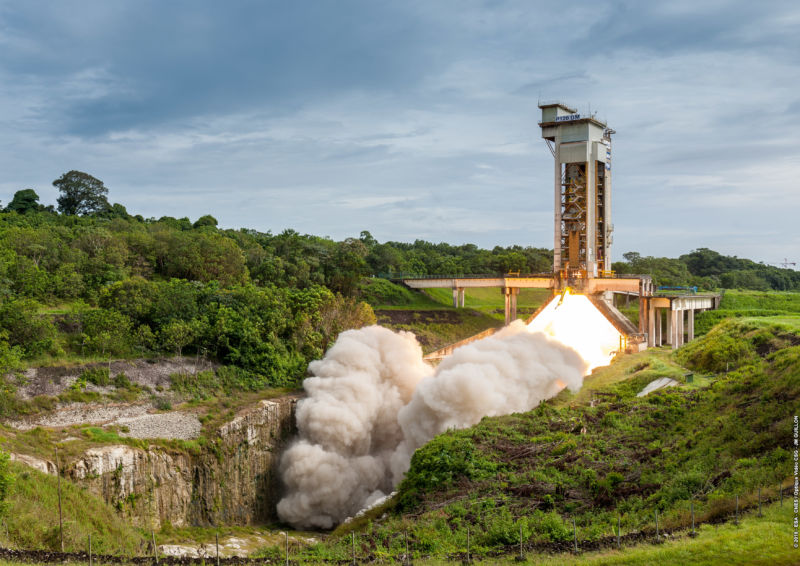 First hot firing of the P120C solid rocket motor that will be used by Europe's new Vega-C and Ariane 6 rockets.